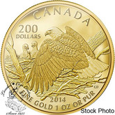 Canada: 2014 $200 Bald Eagle Protecting Her Nest 1 oz Pure Gold Coin