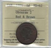 Canada: 1884 Large Cent Obverse 2 ICCS MS62 Red & Brown