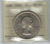 Canada: 1955 Dollar ICCS MS65 #5
