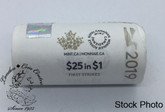 Canada: 2019 $1 Loon First Strikes Special Wrap Coin Roll (25 Coins)