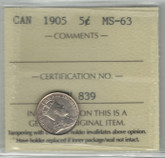 Canada: 1905 5 Cents ICCS MS63