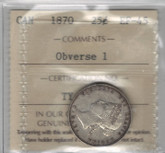 Canada: 1870 25 Cents Obverse 1 ICCS EF45