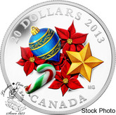 Canada: 2013 $20 Holiday Season with Venetian Glass Candy Cane Silver 1 oz Coin