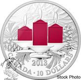 Canada: 2013 $10 Holiday Candles 1/2 oz Silver Coin