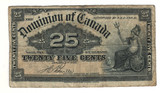 Canada: 1900 25 Cent Banknote Dominion of Canada DC-15b Lot#29