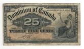 Canada: 1900 25 Cent Banknote Dominion of Canada DC-15b Lot#32