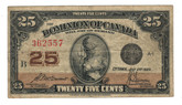 Canada: 1923 25 Cent Banknote Dominion of Canada DC-24c lot#57