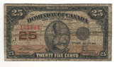 Canada: 1923 25 Cent Banknote Dominion of Canada DC-24c Lot#59
