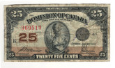 Canada: 1923 25 Cent Banknote Dominion of Canada DC-24c Lot#62
