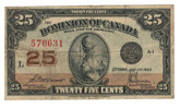 Canada: 1923 25 Cent Banknote Dominion of Canada DC-24c Lot#75