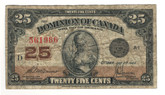 Canada: 1923 25 Cent Banknote Dominion of Canada DC-24c Lot#81