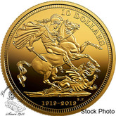 Canada: 2019 $10 The 1919 Sovereign: 100th Anniversary of the Last Issue 1/4 oz. Pure Gold Coin