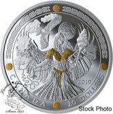 Canada: 2019 $20 Norse Gods: Frigg 1 oz. Pure Silver Gold-Plated Coin