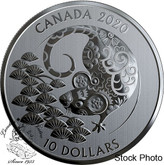 Canada: 2020 $10 Year of the Rat 1/2 oz. Pure Silver Coin