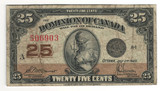 Canada: 1923 25 Cent Banknote Dominion of Canada DC-24c lot#88