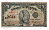 Canada: 1923 25 Cent Banknote Dominion of Canada DC-24d Lot#65