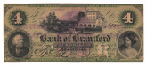 Canada: 1859 $4 Banknote - Bank of Brantford with Westbrook O/P