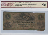Canada: 1859 $1 Banknote - Bank of Brantford BCS VG10