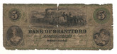Canada: 1859 $5 Banknote - Bank of Brantford