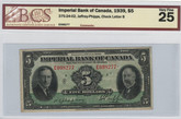 Canada: 1939 $5 Banknote - Imperial Bank of Canada BSC VF25