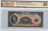 Canada: 1935 $5 Banknote - Bank of Canada English BC-5 BCS VF20