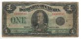 Canada: 1923 $1 Banknote - Dominion of Canada E1089545 Black Seal