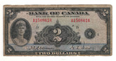Canada: 1935 $2 Banknote - Bank of Canada English BC-3 Lot#5