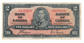 Canada: 1937 $2 Bank Of Canada Banknote BC-22c Lot#22