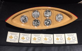 Canada: 2015 $10 Canoe Across Canada Silver 6 Coin Set with Canoe Display