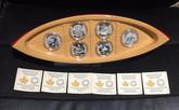Canada: 2015 $10 Canoe Across Canada Silver 6 Coin Set with Canoe Display