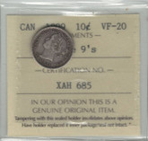 Canada: 1899 10 Cent Large 9's ICCS VF20