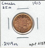 Canada: 1913 $5 Gold Coin Lot#12