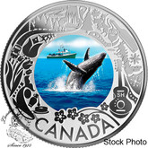 Canada: 2019 $3 Celebrating Canada's Fun and Festivities: Whale Watching Pure Silver Coloured Coin