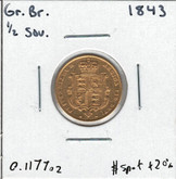 Great Britain: 1843 Gold Shield 1/2 Sovereign