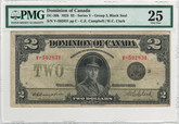 Canada: 1923 $2 Banknote - Dominion of Canada Black Seal PMG VF25