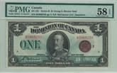 Canada: 1923 $1 Banknote - Dominion of Canada Bronze Seal PMG AU58 EPQ