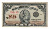 Canada: 1923 25 Cent Banknote Dominion of Canada DC-24d Lot#67