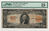 United States: 1922 $20 Gold Certificate PMG VF25