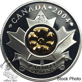 Canada: 2004 25 Cent Gold Plated Silver Poppy Proof