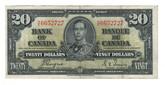 Canada: 1937 $20 Bank Of Canada Banknote BC-25c Lot#29