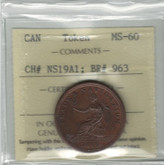 Nova Scotia: 1812 1/2 Penny Token ICCS MS60