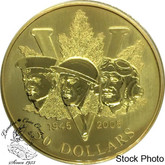 Canada: 2005 50 Dollars 60th Anniversary of the End of The 2nd World War 14-Karat Gold Coin