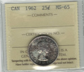 Canada: 1962 25 Cent ICCS MS65