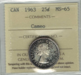 Canada: 1963 25 Cent ICCS MS65 Cameo