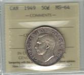 Canada: 1949 50 Cent ICCS MS64