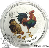 Australia: 2017 50 Cents Year of the Rooster 1/2oz Coloured Silver Coin