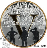 Canada: 2020 $1 75th Anniversary of V-E Day Proof Gold Plated Pure Silver Dollar
