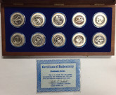 United States: 1980s Challenger Series 10 Coin Pure Silver Set
