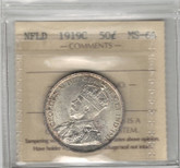 Canada: 1919C Newfoundland 50 Cent Silver ICCS MS64