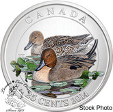 Canada: 2014 25 Cent Pintail Duck Coloured Coin